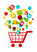 Shopping cart with color circles — Stock Vector