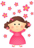 Cute girl with pink flowers — Stock Vector