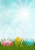 Spring grass with easter eggs — Stock Vector