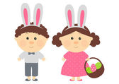 Easter kids with with rabbit-like ears — Wektor stockowy
