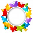 Stock Vector: Rainbow butterflies frame for Your design