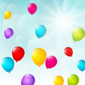 Color balloons on sunny background — Vecteur