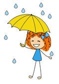 милая маленькая девочка с зонтиком — Cтоковый вектор