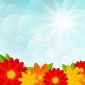 Bright flowers on sunny background — 图库矢量图片