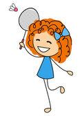 Menina bonitinha jogando badminton — Vetor de Stock