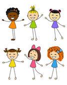 Set of cute little girls — 图库矢量图片