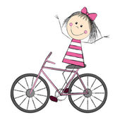 Cute little girl on bicycle — Stock Vector