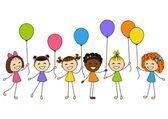 Cute little girls with balloons — 图库矢量图片