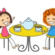 Cute little girls drinking tea — Stock Vector