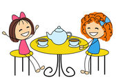 Cute little girls drinking tea — Stockvektor