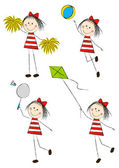 Set of cute little girls — Wektor stockowy