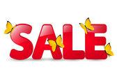 Summer sale message with butterflies — Vector de stock
