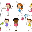 Set of little girls with different hobby — Stock Vector