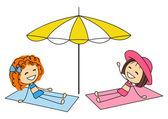 Girls sunbathing on the beach — Stock Vector