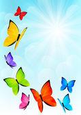 Color butterflies on sunny sky background — Stock vektor