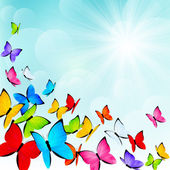 Color butterflies on sunny background — Stock vektor