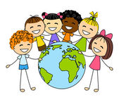 Cute little kids with Earth planet — Stock Vector