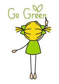 可爱的小女孩写信去绿色 — 图库矢量图片