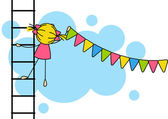 Cute little girl hanging party flags — Stock Vector