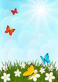 Prato soleggiato con farfalle di colore — Vettoriale Stock
