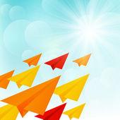 Kağıt uçak güneşli gökyüzünde — Stok Vektör
