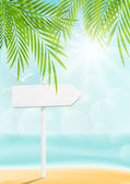 Summer beach background with signboard — Stock Vector