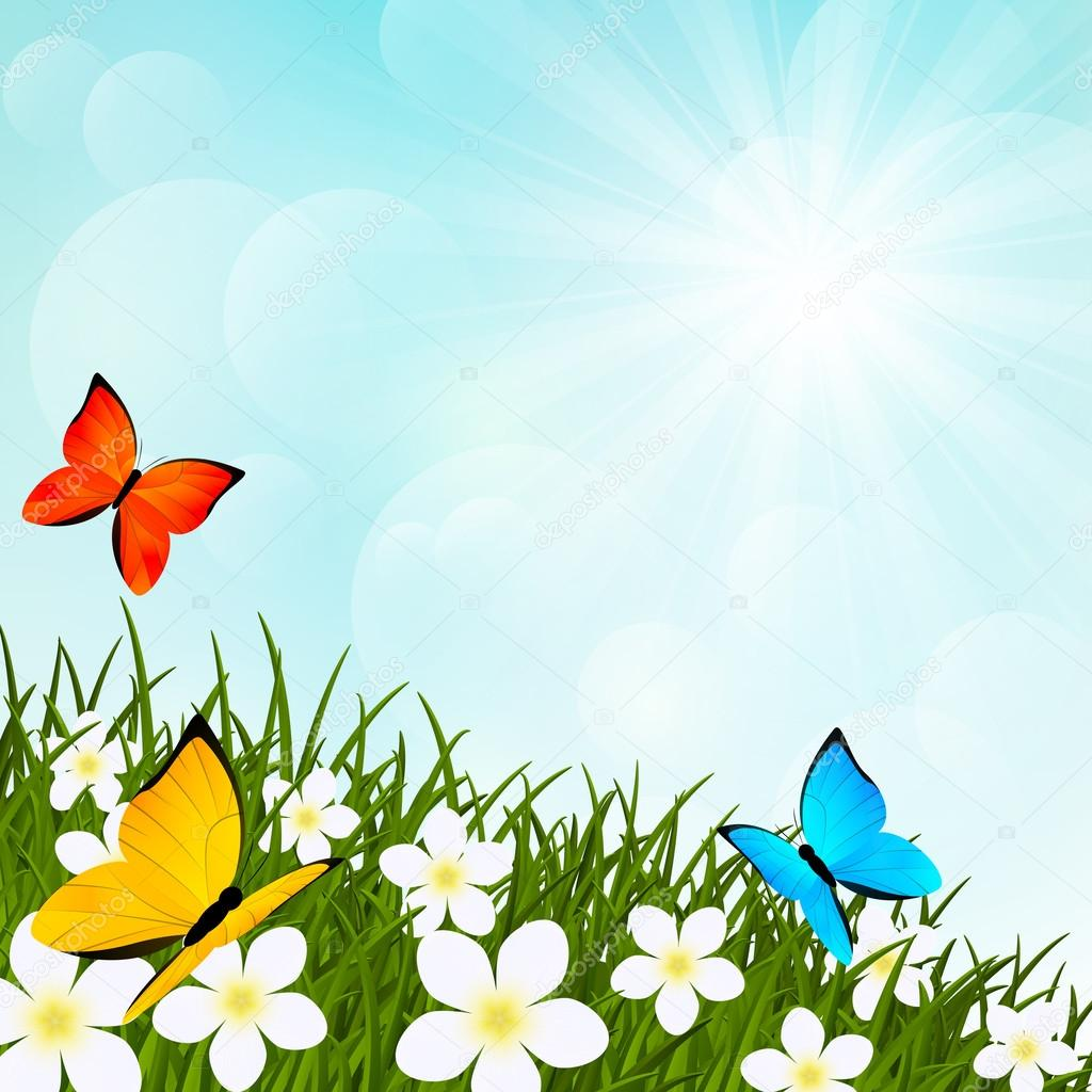 Image Meadow With Flowers And Butterflies Download