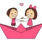 Cute little kids in paper boat — Stock Vector #46266863