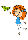 Cute little girl with paper airplane — Stock Vector