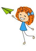 Menina bonitinha com avião de papel — Vetor de Stock