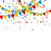 Party flags with color confetti — Stock vektor