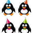 Set of funny penguins with party hats — Stock Vector #46439281