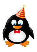 Cute penguin with party hat — Stock Vector