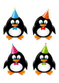 Set of funny penguins with party hats — Stok Vektör