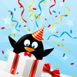 Funny penguin in gift box — Stock Vector