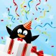 Funny penguin in gift box — Stock Vector