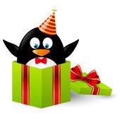 Legrační tučňák v dárkové krabičce — Stock vektor