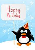 Kağıt kartı ile komik penguen — Stok Vektör