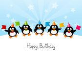 Renkli bayraklar ile komik penguen — Stok Vektör