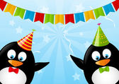 Funny penguins with party flags — Stock Vector