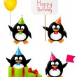 Set of funny Birthday penguins — Stock Vector