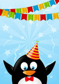Birthday card with funny penguin — Stock Vector