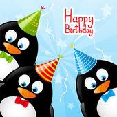 面白いペンギンと誕生日カード — ストックベクタ