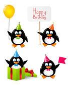 Set of funny Birthday penguins — Stock vektor
