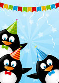 Birthday card with funny penguins — Stock vektor