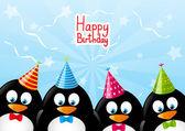 Tarjeta de cumpleaños con los pingüinos divertidos — Vector de stock