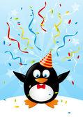 Kağıt kartları ile komik penguen — Stok Vektör