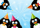 Birthday card with funny penguins — Stock Vector