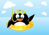 Funny swimming penguin — Stock Vector