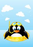Legrační plavání tučňák — Stock vektor
